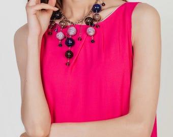 Statement necklace Lilac bubbles Big necklace Glass Bubble necklace Bubble jewelry Bib necklace Evening necklace Glass jewelry Charm jewelry