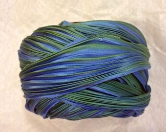 1 yd Shibori Ribbon Hand Dyed Silk Ribbon Peacock