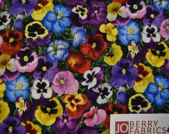 Pansies by Elizabeth Studio.  Quilt or Craft Fabric, Fabric by the Yard.