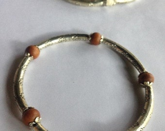 ON SALE Pure Fragrant Sandalwood Chandan Beads and Tibetan Silver Bracelet