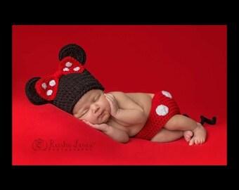 Newborn Photo Prop, Baby Girl Photo Prop, Crochet Minnie Mouse, Disney Baby Photo Prop
