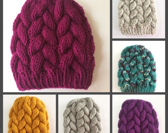 Knit Braided Cable Beanie, Winter Hat, Adult Winter Wear