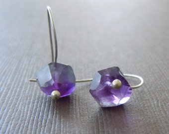 Modern Raw Amethyst Nugget Dangle Earrings Birthstone- Sample Sale