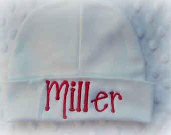 Boys personalized newborn hat, personalized boys infant beanie cap, infant name hat, personalized newborn hospital hat, boys hospital hat