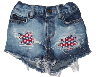 Freedom Stars and Stripes denim shorties/red white blue distressed denim shorties, Patriotic shorts/4th of July outfit