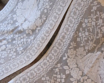 """FREE POST UK Pair of 80"""" Drop Vintage Cream Nylon Cafe Nets Machine Made French Net Curtains, Lace Curtains, Vintage Nets"""