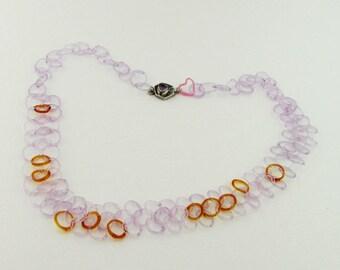Chaine - bracelet fait à la main collier - Bijoux en verre Boro - Borosilicate - lavande collier - Bijoux de mariée - verre enivrants de verre