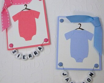 Personalized Twin Baby Onesies Card for Boy or Girl