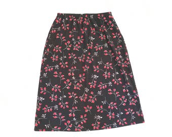 90s Stretchy Red Rose Skirt