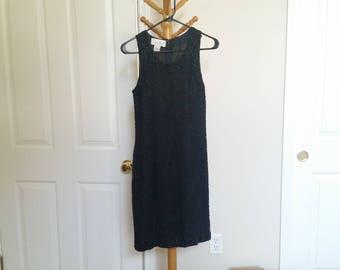 Laurence Kazar Black Beaded Mini Dress XS S