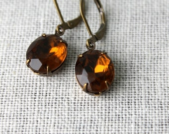 Topaz Brown, Vintage Glass Jewel Earrings Antiqued Brass November Birthstone Cognac