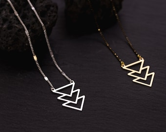 Necklace 3 Silver Triangles