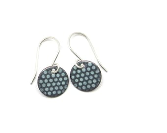 Small Gray Earrings with Mint Polka Dots and Sterling Silver Earwires - Lightweight Enamel Jewelry - Birthday Gift for her