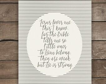 Jesus Loves Me, Wall Print, Farmhouse Style, Neutral