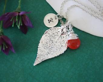 Initial Leaf Necklace Personalized, Real Leaf, Orange Gemstone, Birthstone, Sterling Silver, Evergreen Leaf