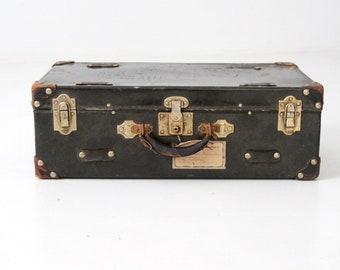 vintage black suitcase, vulcanized fibre stacking suitcase, old travel luggage