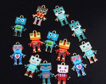 Mixed Colors Turquoise Orange Gray Designs robots Bronze Enamel Pendant Charms Alloy Jewelry Making Supplies R0520