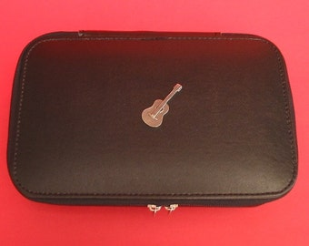 Acoustic Guitar Pewter Motif On Travel Jewellery Box Travel Gift Jewelry Case Music Gift