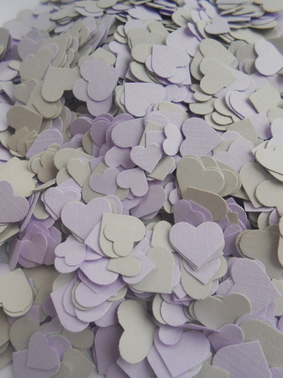 Over 2000 Mini Confetti Hearts. GREY & LAVENDER Mix. Wedding, Party Decorations. Choose Your Colors.