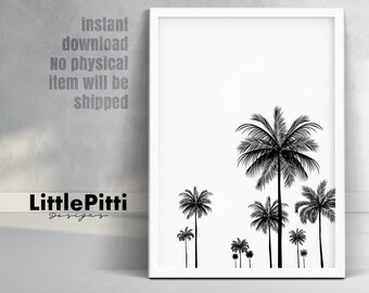 Palm print, palm tree art, tropical art, black and white, california print, instant download, palm art, wall art print, palm tree decor
