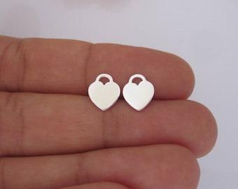 Pair of plain HEART lock sterling silver stud earrings, womens, girls earrings