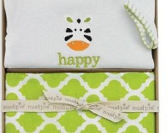 Mud Pie Zebra Crawler / Burp Set - FREE MONOGRAM on burp cloth