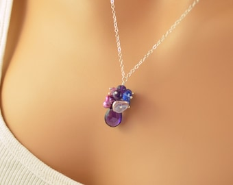 Purple Bridesmaid Necklace, Real Amethyst, Freshwater Pearl, Periwinkle Blue, Sterling Silver, Garden Wedding Jewelry, Free Shipping