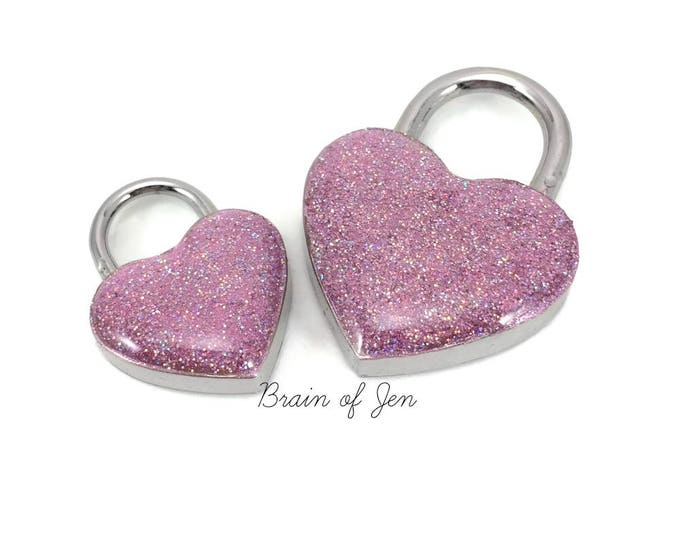 Pink Heart Padlock for Day Collars BDSM Bondage Jewelry