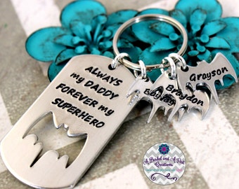 Custom Hand stamped Superhero key chain with personalized bats