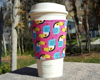 Fabric coffee cozy / coffee cup holder / coffee sleeve -- TOUCANS on pink