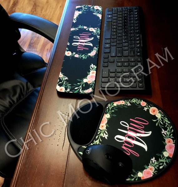 Personalized Floral Keyboard Wrist Rest & Mouse Pad with Wrist Rest Wildflowers Memory Foam Wrist Mouse Pad Keyboard Wrist Pad Wrist Rest