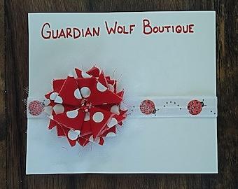 Red and White Polka dot Ladybug Headband, Flower Headband, Shabby Chic Headbands, Newborn Headbands, Infant Headband, Toddler Headbands