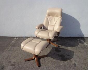 Vintage Danish Modern Hjellegjerde Mobler Reclining Lounge Chair Ottoman Mid Century Modern Armchair Footrest Seating Furniture Recliner