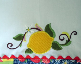 OOAK - Lemon Embroidered Tea Towel  Kitchen Floursack Fingertip Dishtowel
