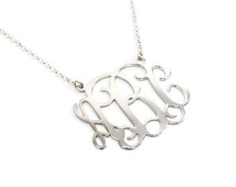 "1"" sterling silver monogram necklace. Silver initial necklace. Initial monogram. Monogram jewelry. Initial jewelry. Silver necklace. gifts"
