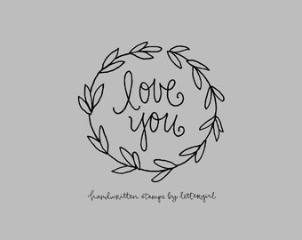 Snail Mail Stempel: Liebe dich, handgeschrieben