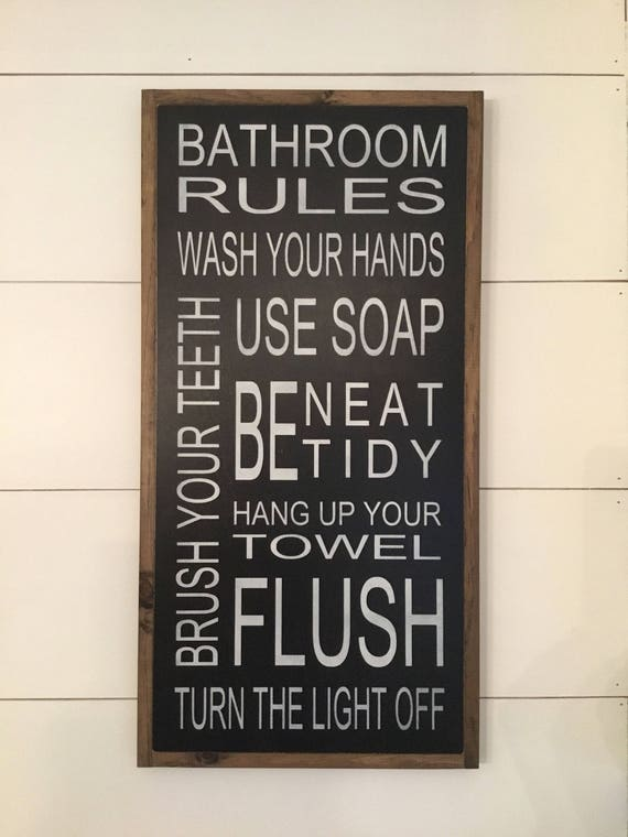 BATHROOM RULES 1'x2' wooden typography sign   painted distressed rustic bathroom decor   shabby chic farmhouse wall art