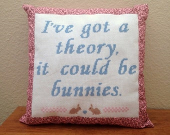 Bunny Theory Finished Cross Stitch Pillow