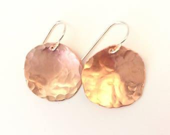 Copper Disc Earrings, Hammered Copper Earrings, Medium Copper Earrings