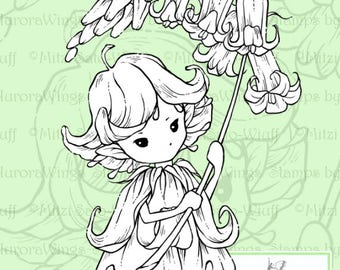 PNG Digital Stamp - Whimsical Bluebell Sprite 2 - Instant Download - digistamp - Fantasy Line Art for Cards & Crafts by Mitzi Sato-Wiuff