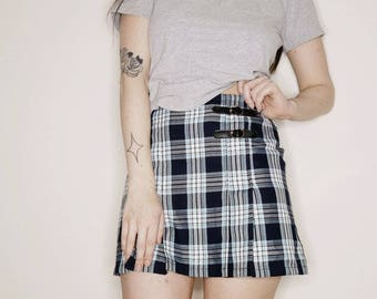 90s blue plaid school girl mini skirt 28 inch waist
