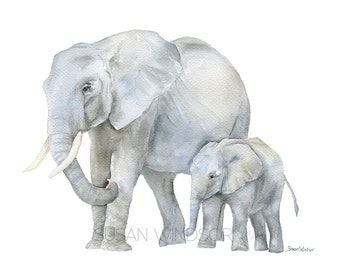 Elephants Watercolor Mother and Baby Print - Nursery Art African Animals