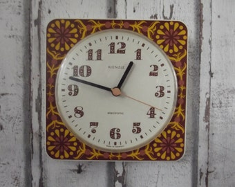 vintage 1970s wall clock, kitchen clock, Kienzle Germany