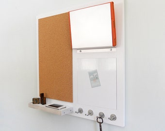 COMMAND CENTER: Wall Mount Magnetic White Board, Cork Board, Shelf, iPad or Mail Slot and Key Hooks. Modern Minimal Family Organizer
