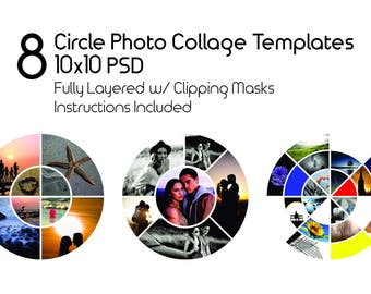 10x10 Circle Photo Template Pack, 8 PSD Templates, Photo Collage Template, Scrapbook, Storyboard Templates, Photoshop Mood Boards Collection