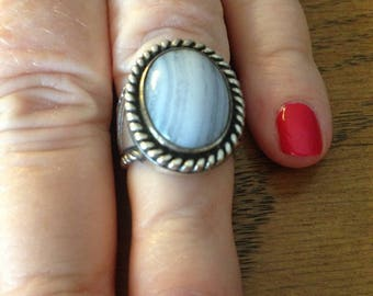 Sterling Silver Carolyn Pollack Blue Banded Agate Ring