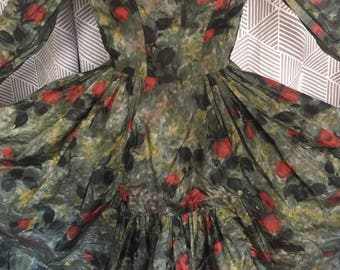 Free Shipping, 1950's Silk Party Dress by Adeles Pittsburgh
