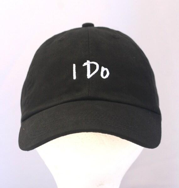 I Do - Ball Cap (Black with White Stitching)