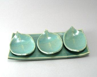 Three Little Leaves on a Tray-Pottery Leaves-Leaf Plate-Green-Teal-Turquoise
