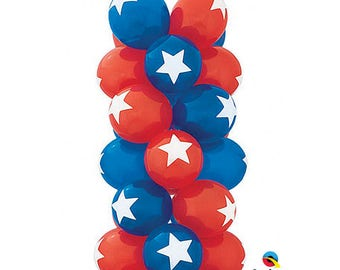 "Star Top Print Latex Balloons 11"",  Captain America Balloons, Patriotic Balloonsset of 6, star top print balloon blue and Red Set of 6"